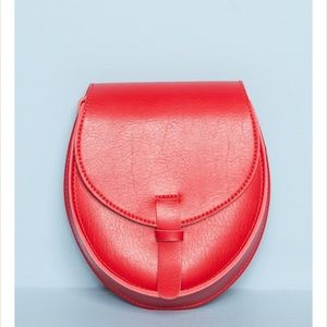 Red faux leather crossbody purse